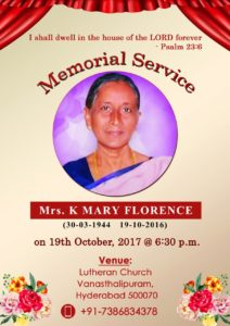 Mrs K Mary Florence Memorial Service 2017