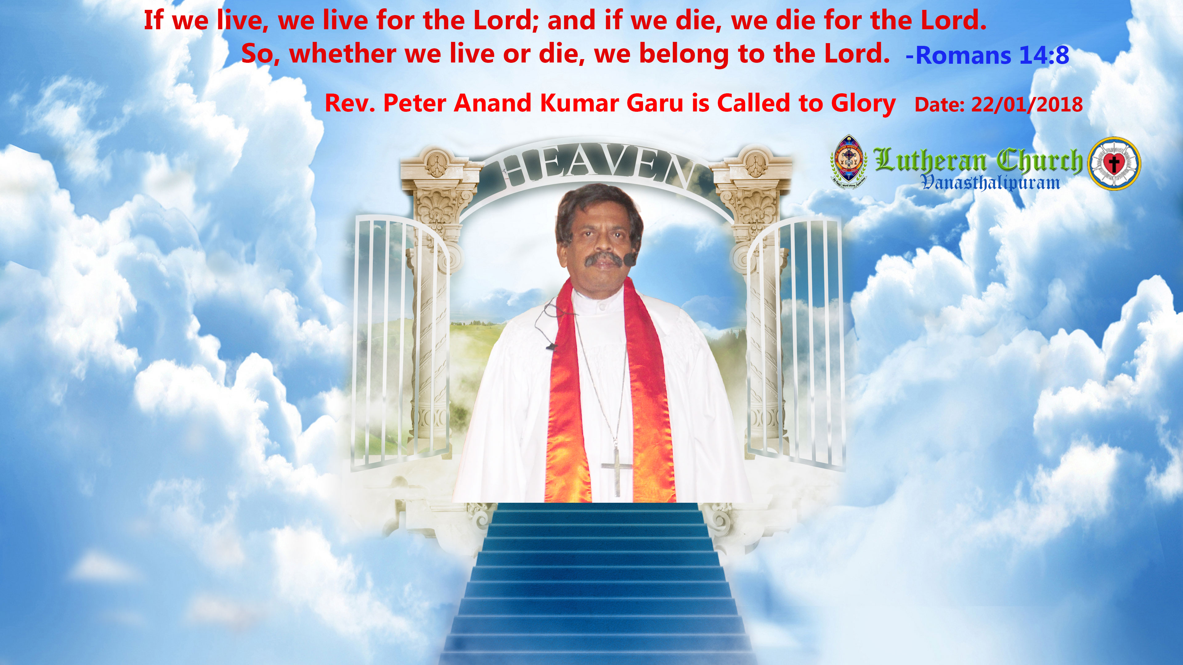 Rev. Peter Anand Kumar Garu is Called to Glory
